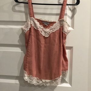 Salmon/pink lace trimmed tank